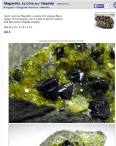 Magnetite, Epidote and Diopside specimen from Pakistan | Surrey Minerals